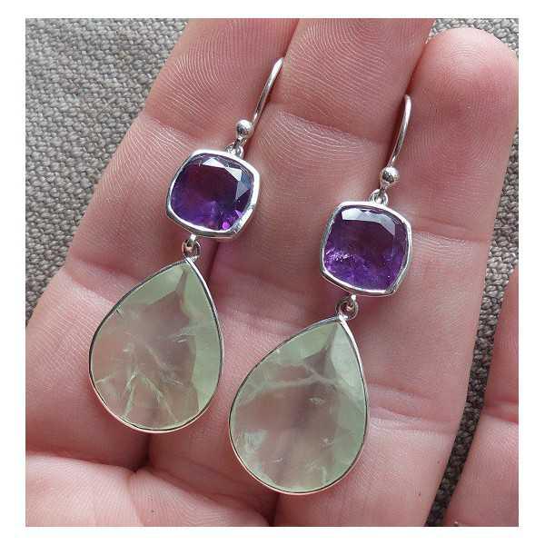 Silber Ohrringe set mit Amethyst und Amethyst