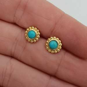 Gold-plated oorknoppen set with Turquoise