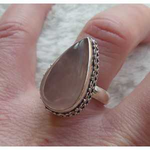 Silver ring set with oval shape rose quartz size 17.5 mm
