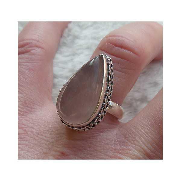 Silber ring set mit oval rose Quarz Größe 17,5 mm