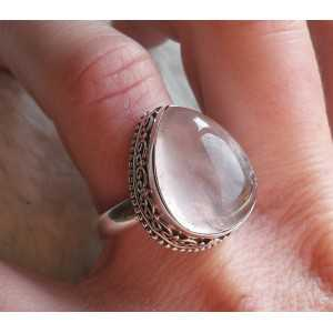 Silver ring set with oval shape cabochon rose quartz 17.5 mm