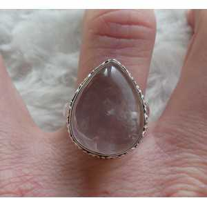 Silber ring set mit oval cabochon Rosenquarz-17,5 mm