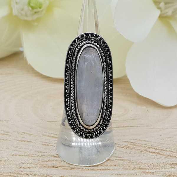 Ein Silber ring set mit Regenbogen-Mondstein