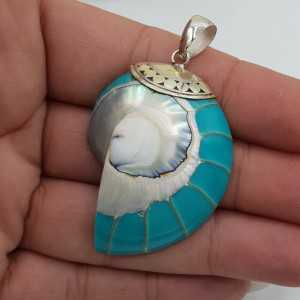A silver pendant with a Turquoise-colored-Nautilus-shell