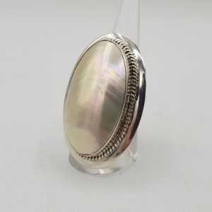 925 Sterling zilveren ring gezet met schelp 19.5 mm