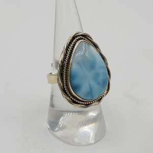 Zilveren ring gezet met Larimar verstelbaar