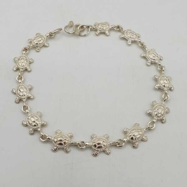 925 Sterling silver bracelet with turtle charms