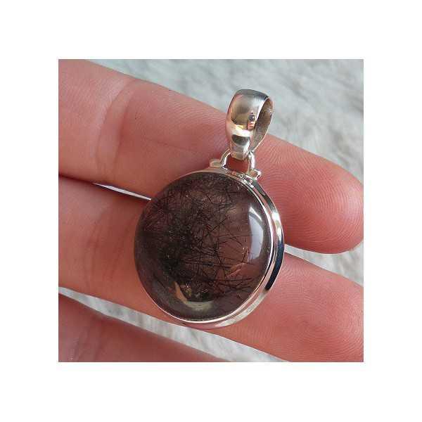 Silver pendant set with round Toermalijnkwarts