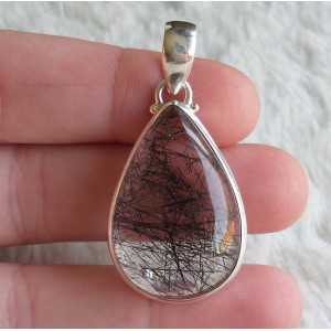 Silver pendant set with oval shape Toermalijnkwarts