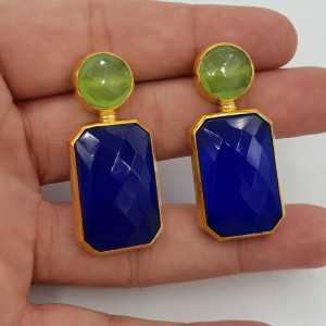 Vergoldete Ohrringe mit blauen Chalcedon
