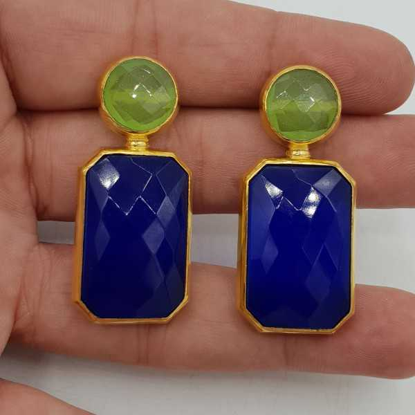 Gold-plated drop earrings with blue Chalcedony