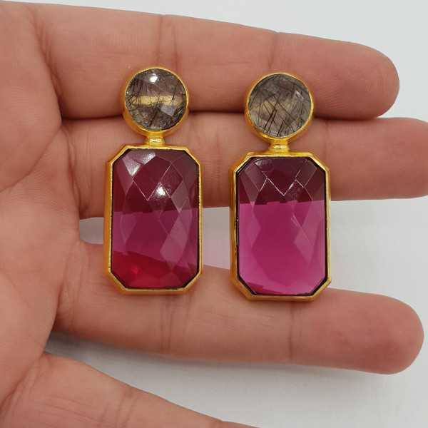 Vergoldete Ohrringe mit schwarzen Toermalijnkwarts und-rosa-Turmalin-Quarz