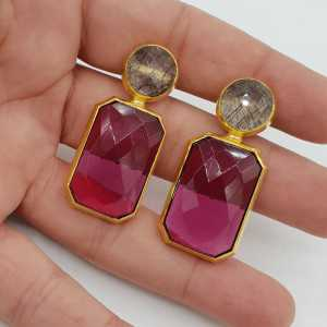 Gold-plated drop earrings with black Toermalijnkwarts and-pink-Tourmaline quartz