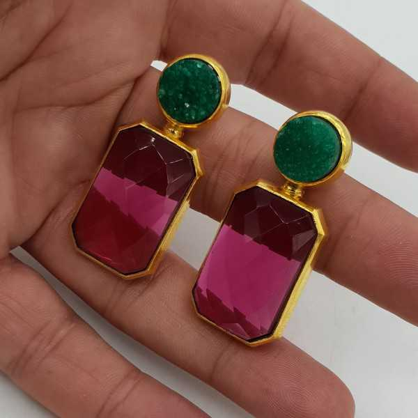 Gold-plated drop earrings with raw green Agate and pink Tourmaline, quartz