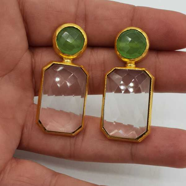 Gold-plated drop earrings with Crystal and green Chalcedony