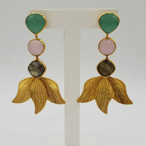 Gold plated earrings with Labradorite and Chalcedony
