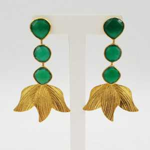 Gold-plated drop earrings with green Onyx.