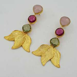 Gold-plated drop earrings with Chalcedony, green Amethyst, and pink Tourmaline, quartz