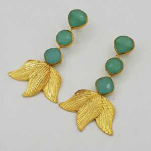 Gold-plated drop earrings with aqua Chalcedony