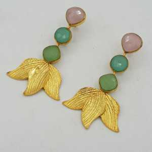Gold-plated drop earrings with pink, green and aqua Chalcedony