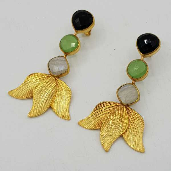 Gold-plated drop earrings with green Chalcedony, black Onyx, and Moonstone