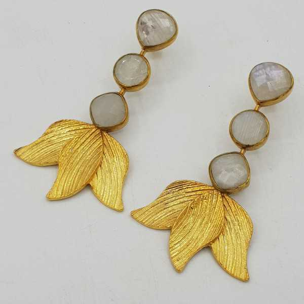 Gold-plated drop earrings with rainbow Moonstone