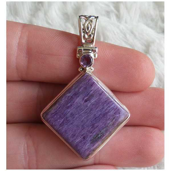 Silver pendant with square Charoiet and Amethyst