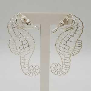 Silver earrings, sea horse
