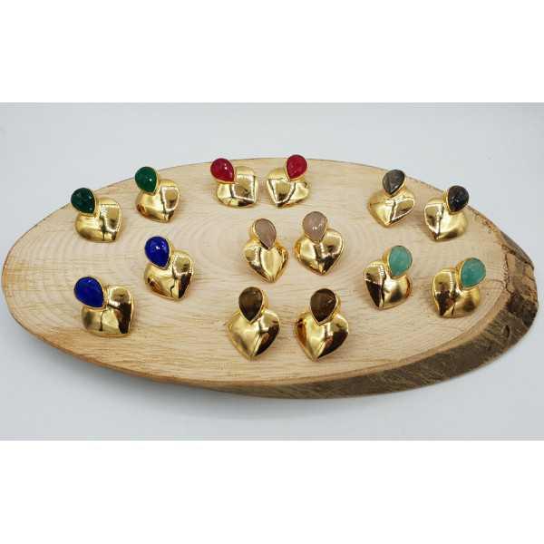 Vergoldete Ohrringe Herz set mit aqua Chalcedon