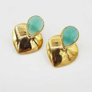 Gold-plated drop earrings heart set with aqua Chalcedony