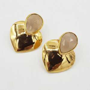 Gold-plated drop earrings heart set with white Chalcedony