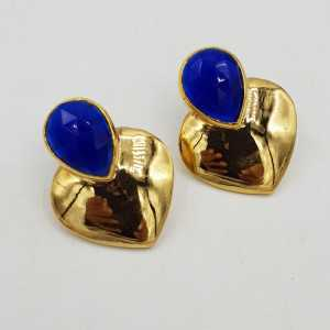 Gold plated earrings hearts are made with cobalt blue Chalcedony