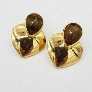 Gold-plated drop earrings heart set with tiger's eye