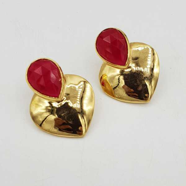 Gold-plated drop earrings heart set with a Ruby