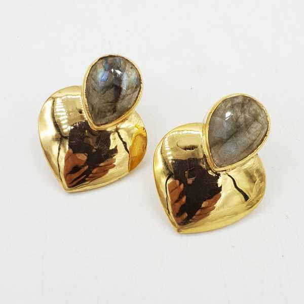 Gold-plated drop earrings heart set with Labradorite
