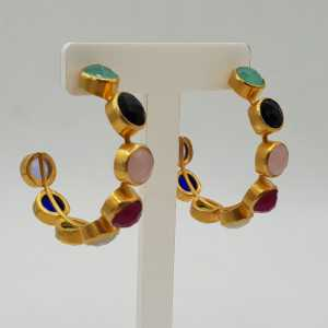 Gold-plated creole with multi-gemstones