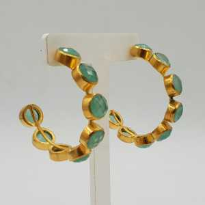 Gold-plated creole with aqua Chalcedony