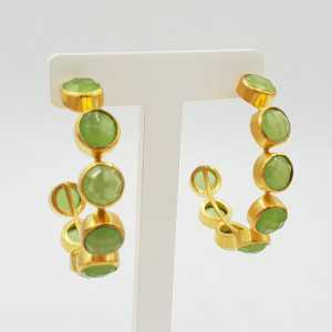 Gold-plated creole with green Chalcedony