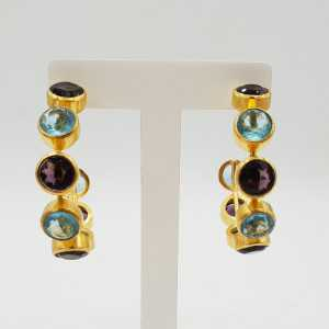Gold-plated creole with Amethyst, quartz and blue Topaz quartz