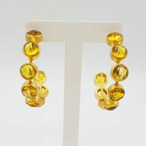 Gold-plated creole with Citrine quartz