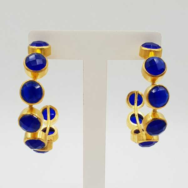 Gold-plated creole with cobalt blue Chalcedony