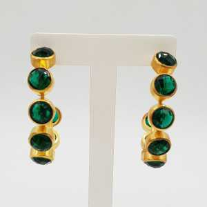 Gold-plated creole with Emerald green quartz