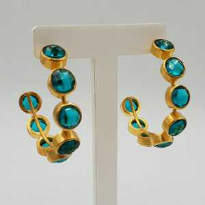Gold-plated creole with Apatite and quartz