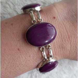 Silver bracelet set with purple Turquoise