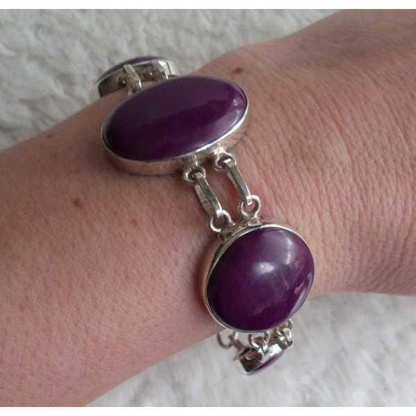 Zilveren armband gezet met paars Turkoois