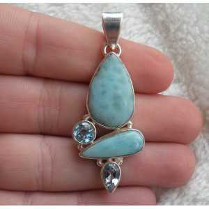 Silver pendant set with Larimar and blue Topaz