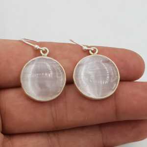 Zilveren oorbellen met ronde Seleniet