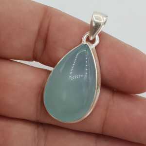 925 Sterling zilveren hanger gezet met druppelvormige aqua Chalcedoon