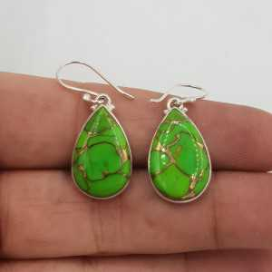 Silver drop earrings set with oval shape copper green Turquoise