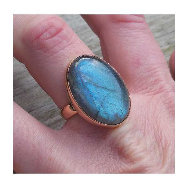 Gold-plated ring set with Labradorite 18 mm